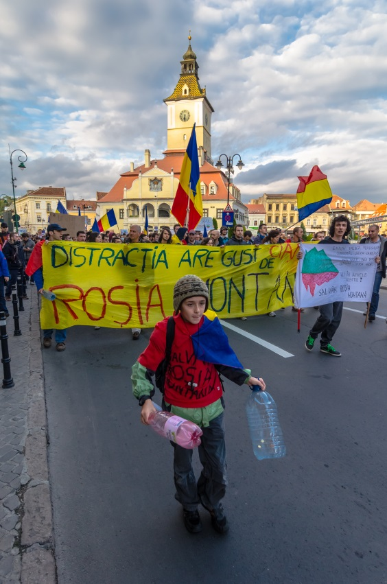 Arrested development: protesters march against the Rosia Montana project.